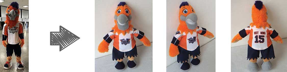 custom plush mascots - flint firebirds