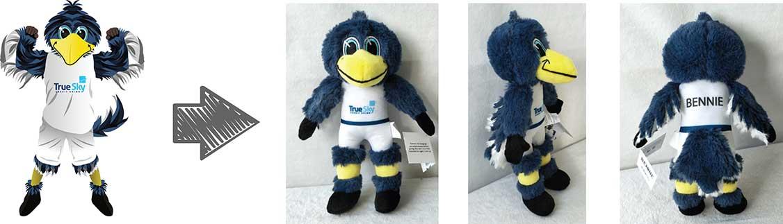 custom plush mascots - true sky credit union
