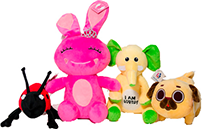 Plush animals manufactured by Custom Plush Innovations